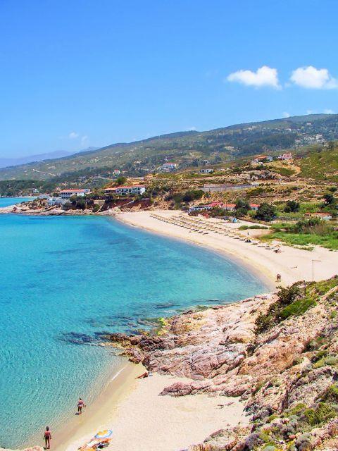Livadi: Panoramic view of Livadi beach.