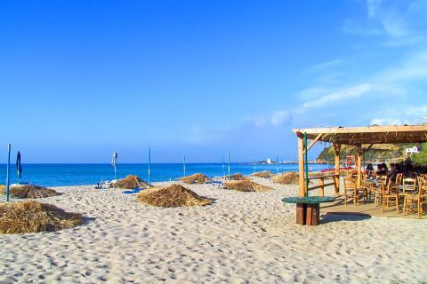 Messakti: A canteen and some umbrellas and sun beds for rent are available on the beach.