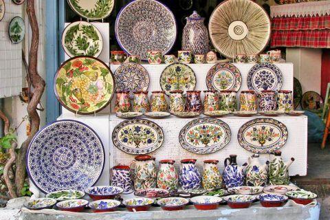 Agiassos: Ceramic plates with colorful decorations.