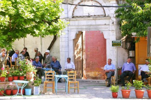 Agiassos: Locals, relaxing at a traditional kafenio.