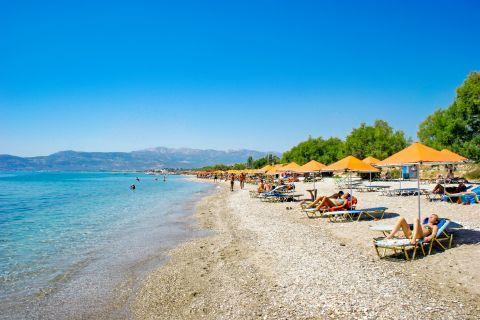 Pythagorio beach: Pythagorio is a cosmopolitan resort.