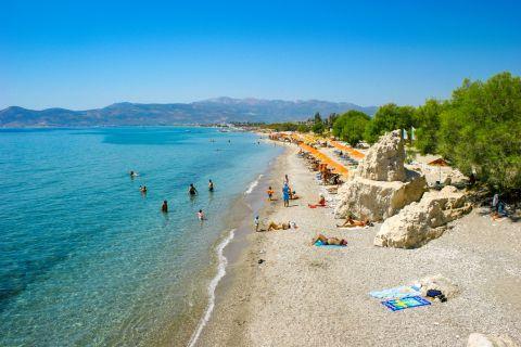 Pythagorio beach: Panoramic view of Pythagorio beach.