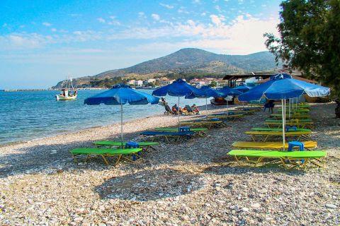 Heraion: An organized spot on Heraion beach.