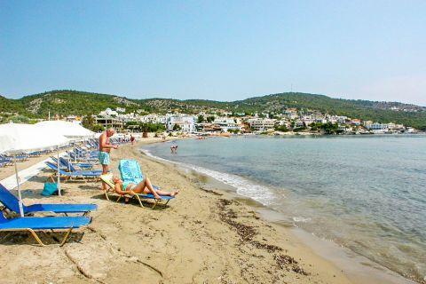 Agia Marina beach: An organized spot on Agia Marina beach.
