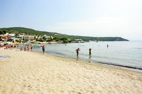Agia Marina beach: This is one of the very few sandy beaches on Aegina island.