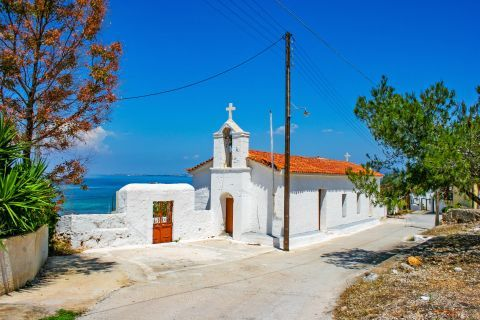 Megalochori: The whitewashed church of Saint George in Megalochori village