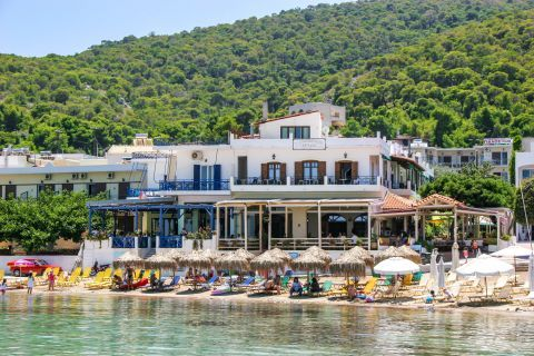 Skala beach: There are various accommodation options and eateries on the beachfront of Skala beach.