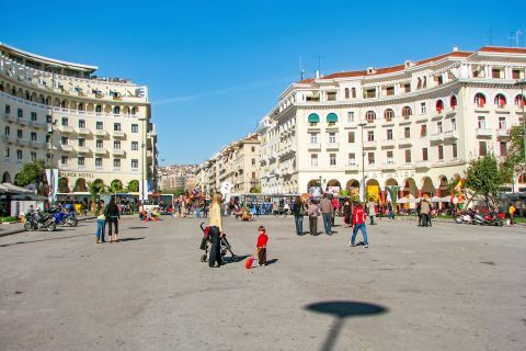 Aristotle Square: The imposing mansions around Aristotelous Square are the trademark of this place.