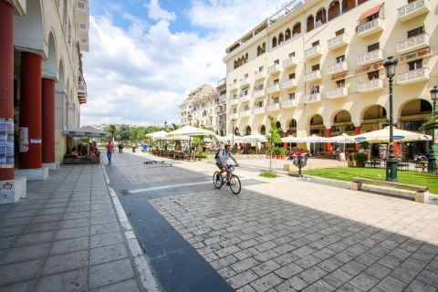 Aristotle Square: Paved, well-preserved square.