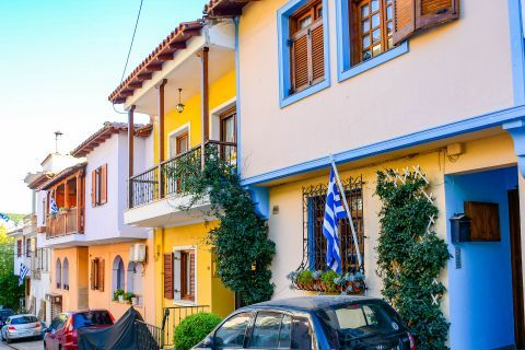 Old Town Ano Poli: Colorful buildings with wooden details