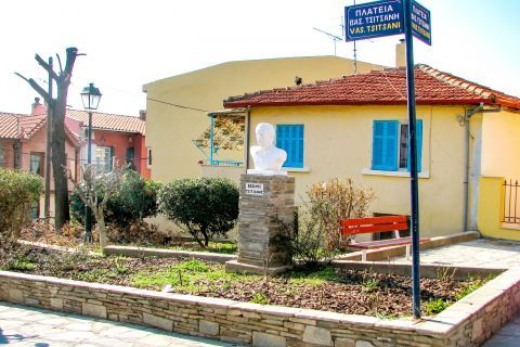 Old Town Ano Poli: A marble monument, dedicated to Vasilis Tsitsanis.
