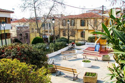 Old Town Ano Poli: A small playground in Ano Poli.