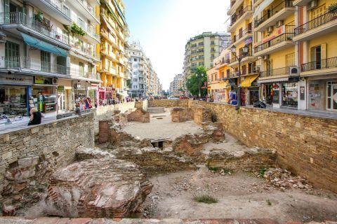 Navarino Square: The archaeological site of the Galerian Complex on Navarinou Square.