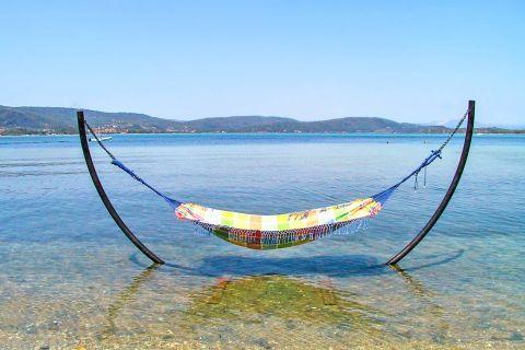 Karydi: Moments of tranquility on Karydi beach.