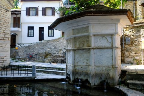 Makrinitsa: At the central square of Makrinitsa village, Pelion.