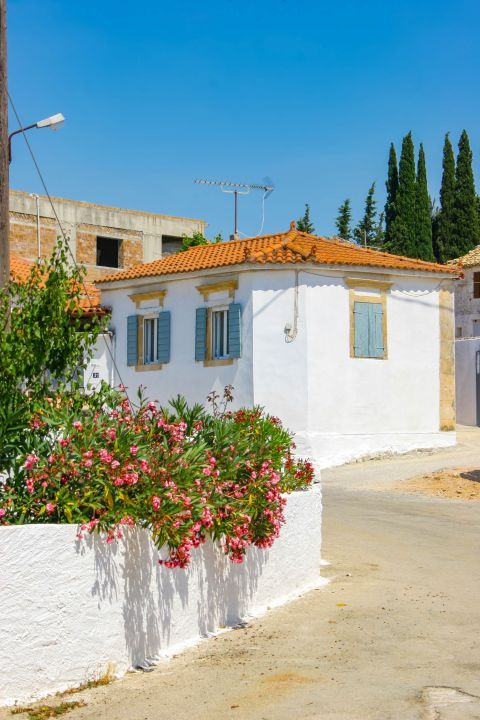 Agios Leon: Whitewashed house with ceramic roof tiles.