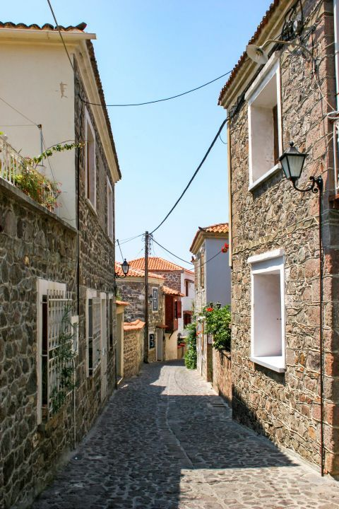 Molivos: Stone build houses and narrow paths paved with stone.