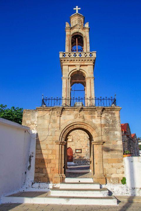 Asklipio: The impressive belfry of the Church of Virgin Mary.