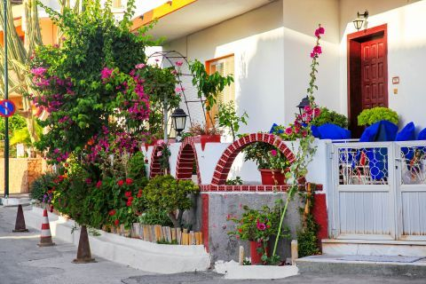 Kalithies: A beautiful house with colorful flowers.