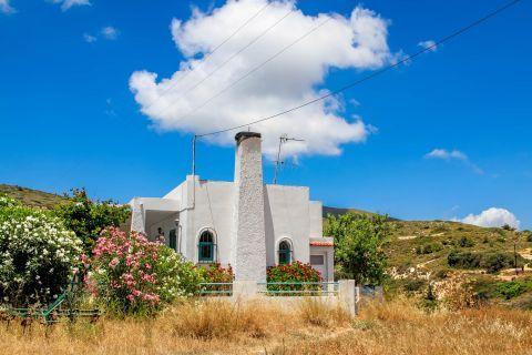 Mesanagros: Lush vegetation and a whitewashed construction.