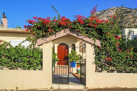 Salakos: Beautiful flowers at the entrance of a local house.