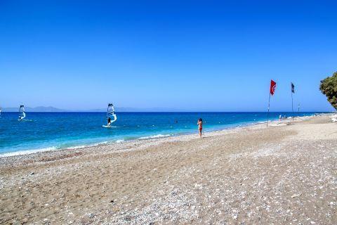 Theologos Beach: Sandy beach and blue waters.