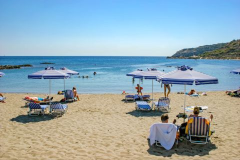 Kathara: Relaxing moments, while gazing at the endless blue. Kathara beach.