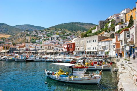 Town: The tranquil atmosphere of the port of Hydra.