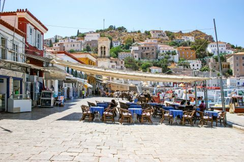 Town: Cafes and restaurants on the port of Hydra with nice view of the settlement.