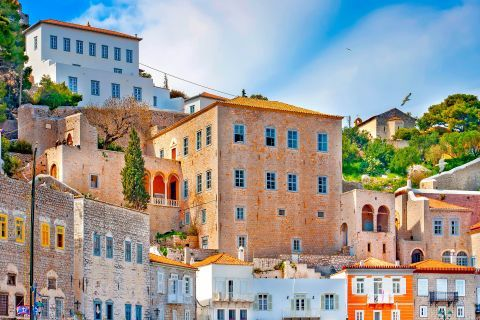 Town: Colorful, stone built houses in Chora