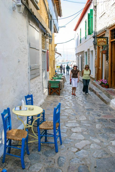 Town: Exploring the alleys of Hydra.
