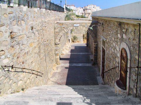 Ermoupolis: Stone-built constructions and an archway. Ermoupolis, Syros.