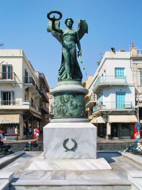 Ermoupolis: The statue of Winged Nike (Victory), in Ermoupolis.