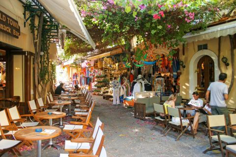Town: Souvenir shops and cafes in Kos Town.