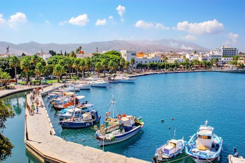 Town: View of Kos port.