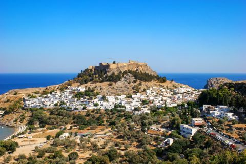 Lindos: The Acropolis of Lindos is surrounded by small, whitewashed houses.