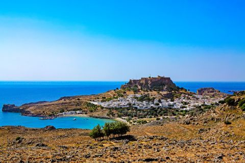 Lindos: Distant view of Lindos.