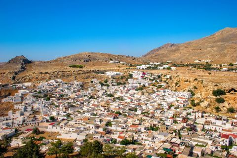 Lindos: Aerial photo of the houses of Lindos.