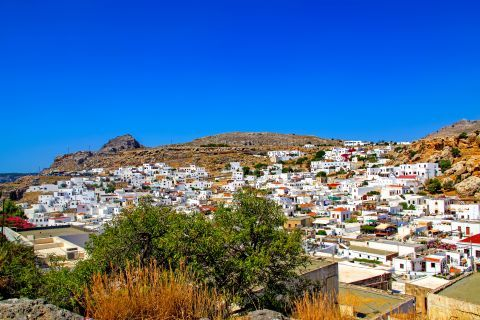 Lindos: Distant view of Lindos