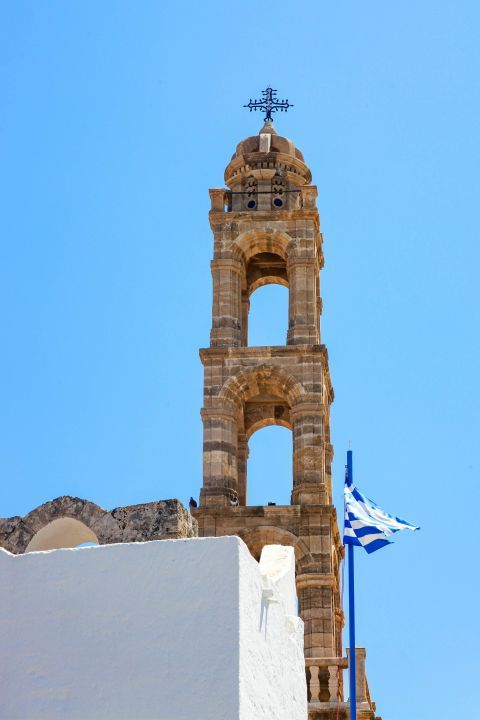 Lindos: The impressive belfry of the church of Panagia.