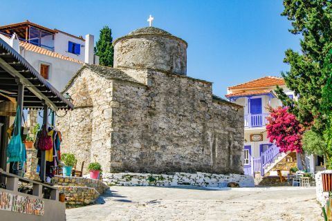 Chora: Old, stone-built church.