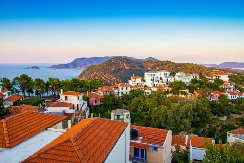 Chora: The picturesque houses of Chora, surrounded by lush vegetation