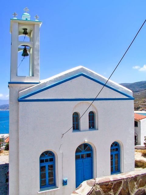 Armenistis: White and blue colored church.