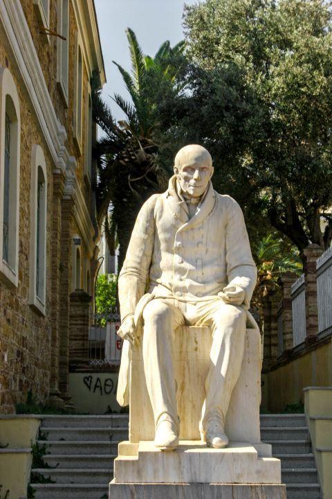 Town: Statue of Adamantios Koraes in Chora, Chios.