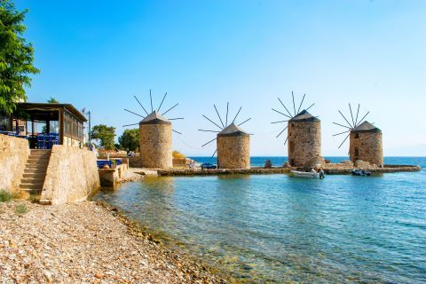 Town: The four traditional windmills of Chios.