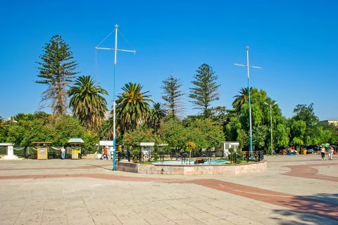 Town: A central spot with some trees and a fountain.