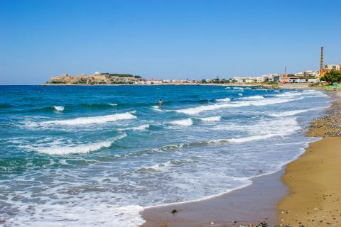 Town: One of the beautiful beaches of Rethymno on a windy day.