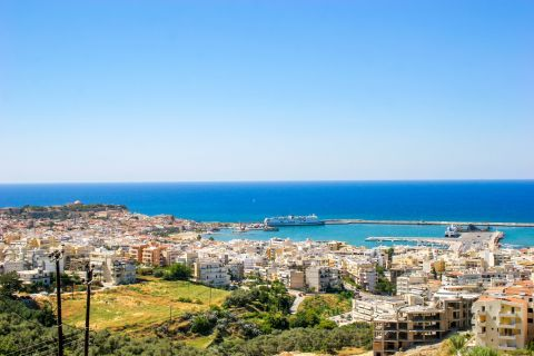 Town: View of Rethymno Town and harbor.