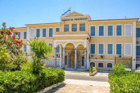 Town: The building of the prefecture of Rethymno.