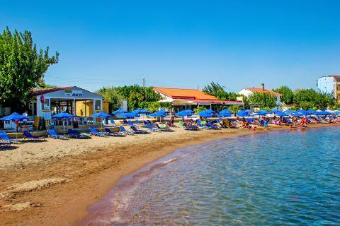 Faliraki: Umbrellas and sun loungers on Faliraki beach.